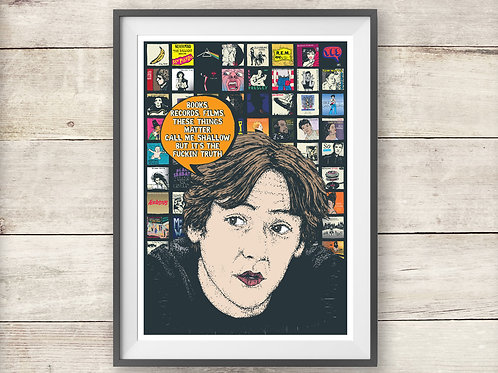 High Fidelity Print - Books, Records, Films Quote