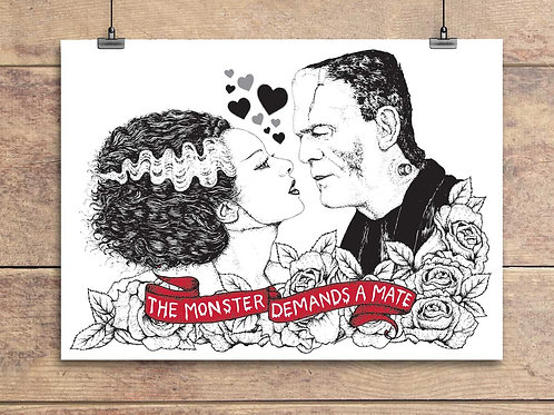 Bride Of Frankenstein and Frankenstein's Monster - Valentine's Greeting Card