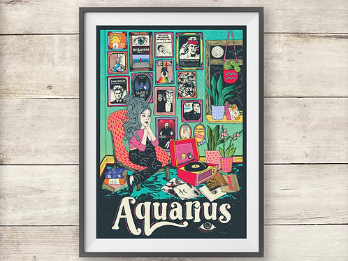 Aquarius Print - Astrology - Zodiac Print