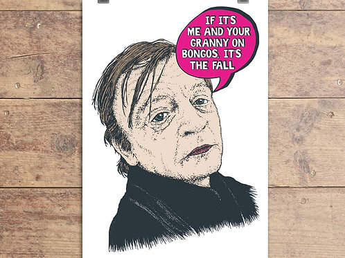 Mark E Smith - The Fall - Granny On Bongos Greeting Card