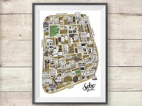 London - Soho - Illustrated Map - Poster - Print