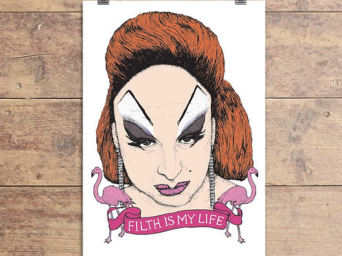 Divine Filth Is My Life - John Waters - Pink Flamingos Greeting Card