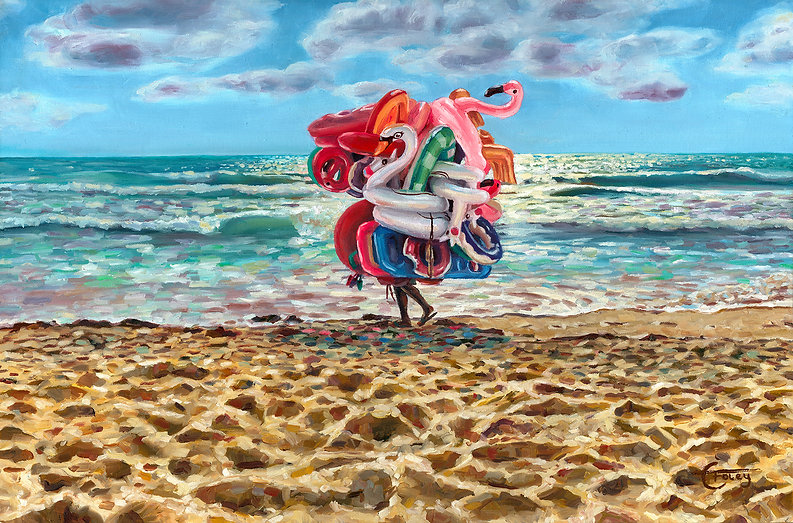 charles foley artist painting inflatables holiday sea ocean art