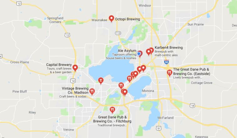 Map of Madison Breweries