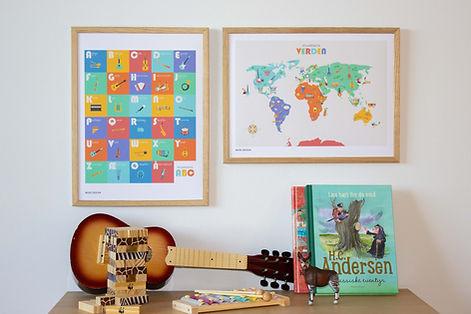 Børneplakater ABC og verdenskort