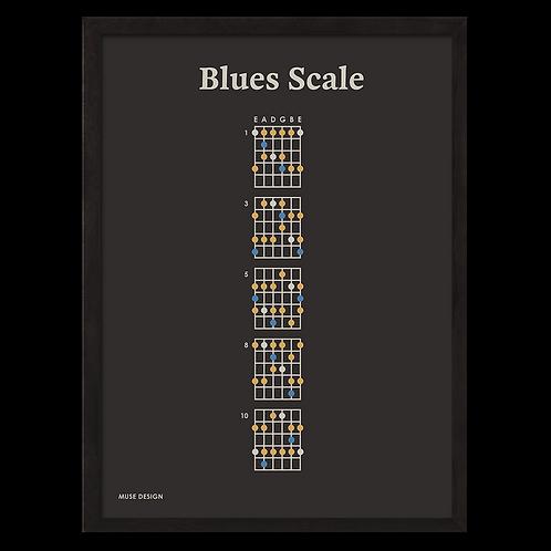 Blues Skala Plakat, sort (30x40)