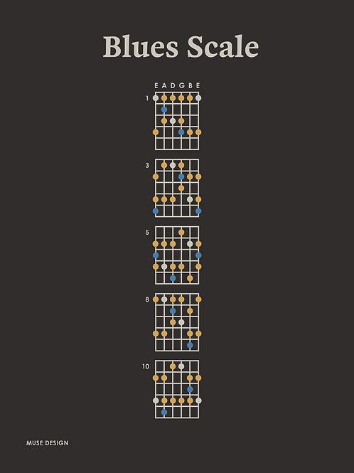 Blues Skala, sort (30x40)
