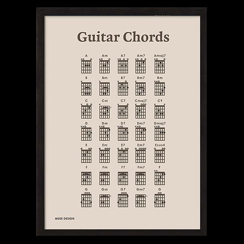 Guitar Akkorder Plakat, beige (30x40)