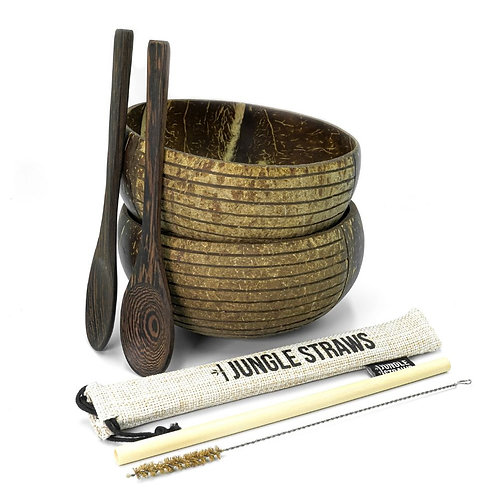 COCONUT BOWL SET With 2 Bowls, 2 Spoons, Straw & Cleaning Brush
