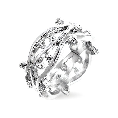 SILVERTONE ZIRCON VINES RING