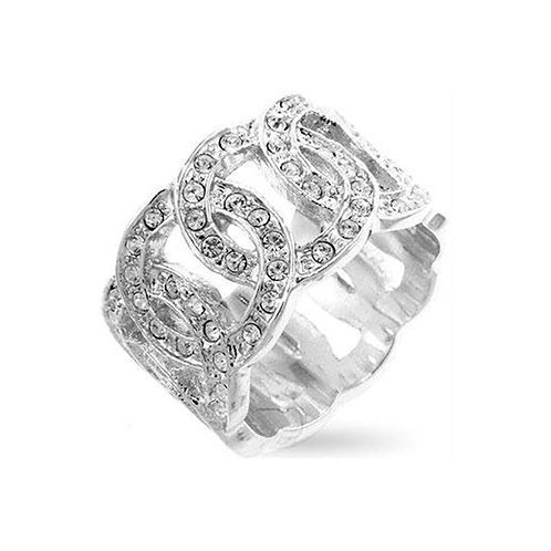 INTERLOCKING CIRCLE CUBIC ZIRCONIA BAND