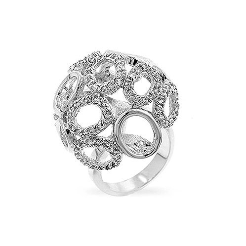 Oval Globe Pave CZ Silver Colored Cocktail Ring