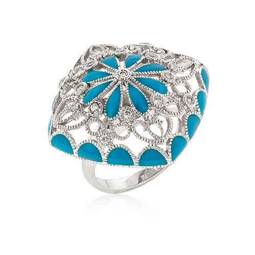 KATE BISSETT SILVERTONE TURQUOISE ANTIQUE RING