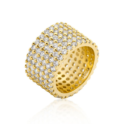 GOLDTONE FINISHED WIDE PAVE ZIRCONIA RING+