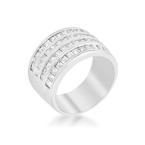 4 ROW CUBIC ZIRCONIA COCKTAIL RING