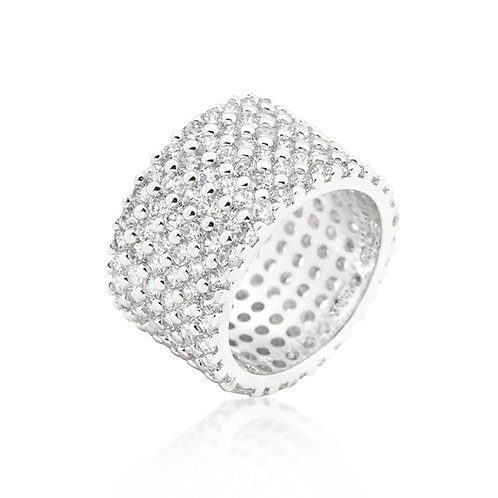 SILVERSTONE FINISHED WIDE PAVE CUBIC ZIRCONIA RING