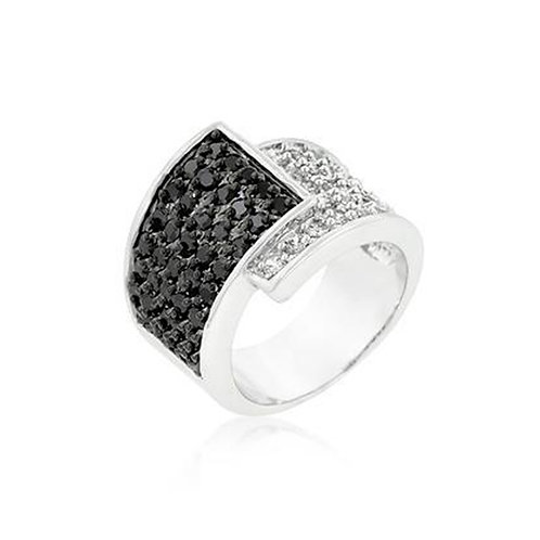 COILED BLACK OVER WHITE COCKTAIL RING