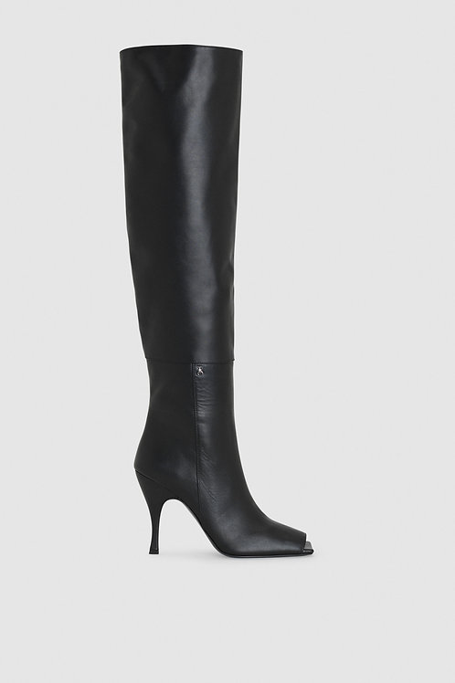 Peep-toe heeled boots