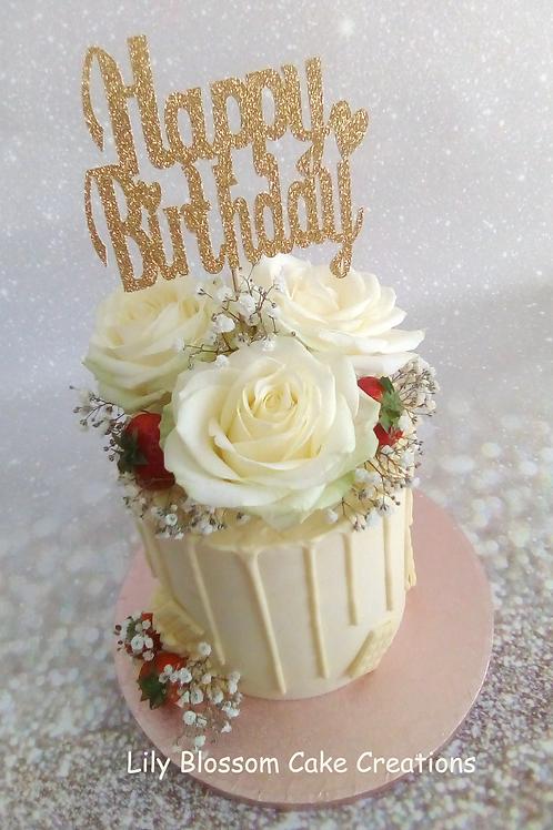 White Rose & Strawberry Drip Cake