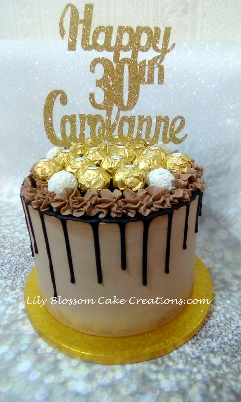 Gold & Chocolate Drip Cake