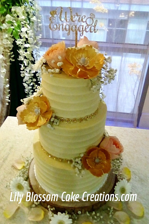 Buttercream Engagement Cake / Lily Blossom Cake Creations / Liverpool / Merseyside