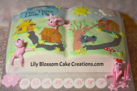 3 little pigs storybook cake / Lily Blossom Cake Creations / Liverpool