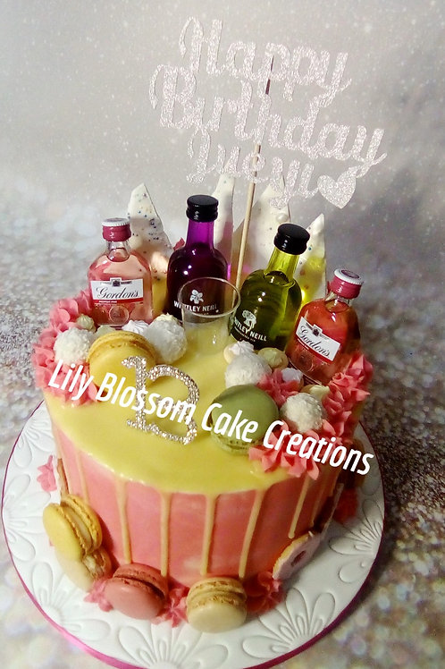 Pink Gin Cake / Lily Blossom Cake Creations / Liverpool / Merseyside