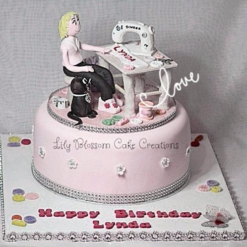 Sewing Machinist Birthday Cake