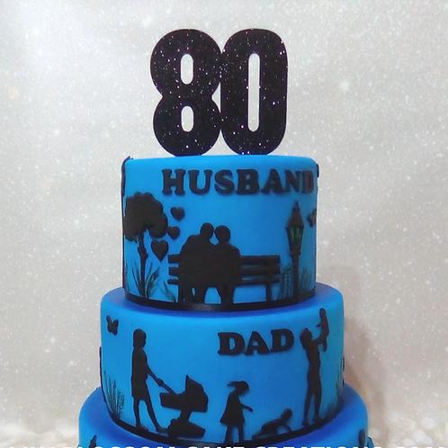80th Birthday Silhouette Cake