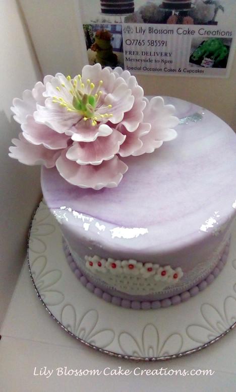 Large Open Peony Cake