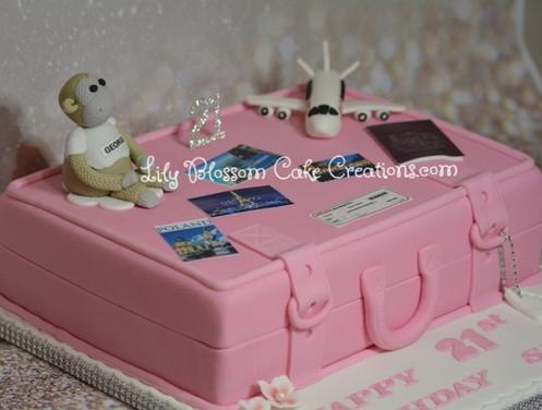 Pink Luggage 21st Birthday Cake