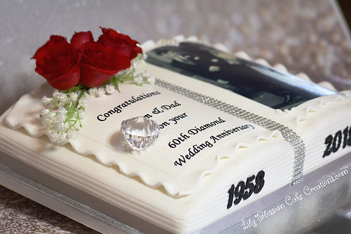 Diamond Wedding Anniversary Cake / Lily Blossom Cake Creations / Liverpool