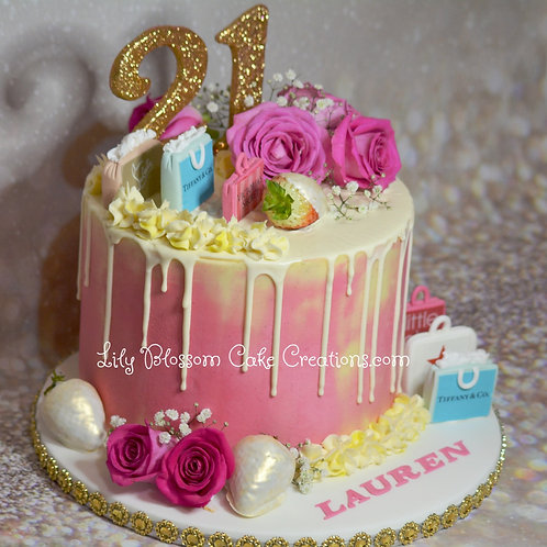 21st Birthday Cake / Drip Cake / Lily Blossom Cake Creations / Liverpool / Merseyside