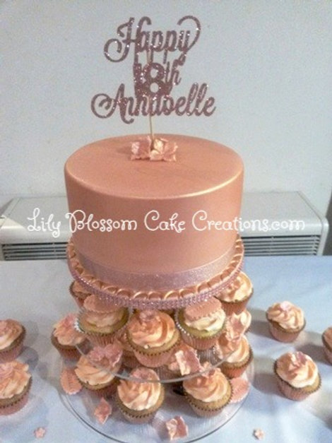 Rose Gold Birthday Cake / Lily Blossom Cake Creations / Liverpool