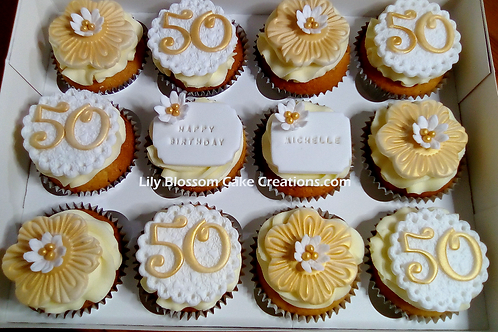 Gold Cupcakes / Lily Blossom Cake Creations / Liverpool Merseyside