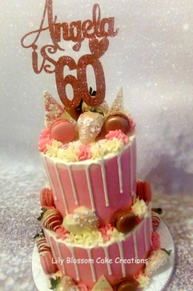 Rose Gold Pink Drip Cake