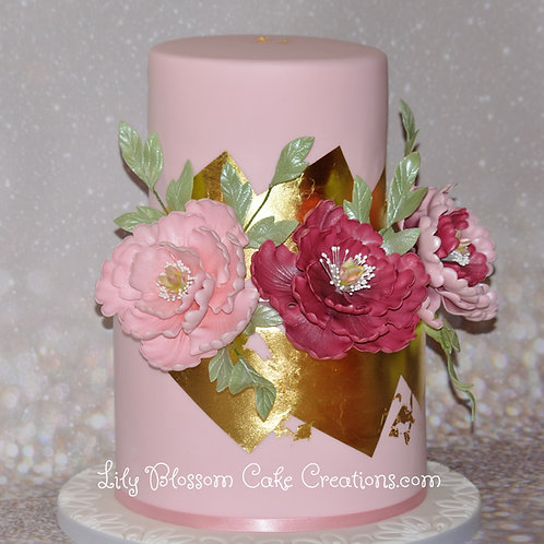 Peony Gold Leaf Cake / Lily Blossom Cake Creations / Liverpool