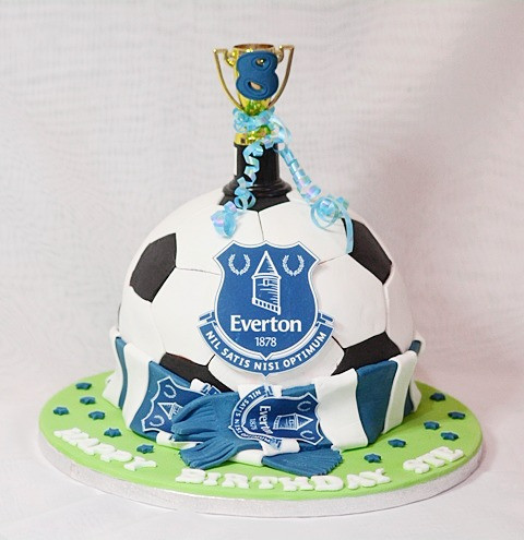 A Delicious Round 8 Football Themed Birthday Celebration Cake With Keepsake Trophy It Will Be The Centre Attraction At Any Party And All Everton