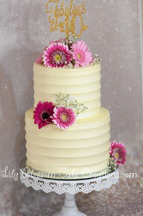 Buttercream Flower Cake / Lily Blossom Cake Creations / Liverpool