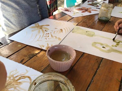 painting with the homemade paint