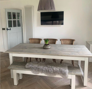 Rustic Refectory Dining Table & 1 Bench
