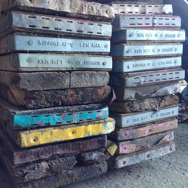 Our scaffold boards, waiting to be cut to size.