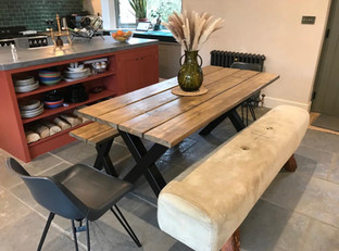 Dining Table with X Metal Legs