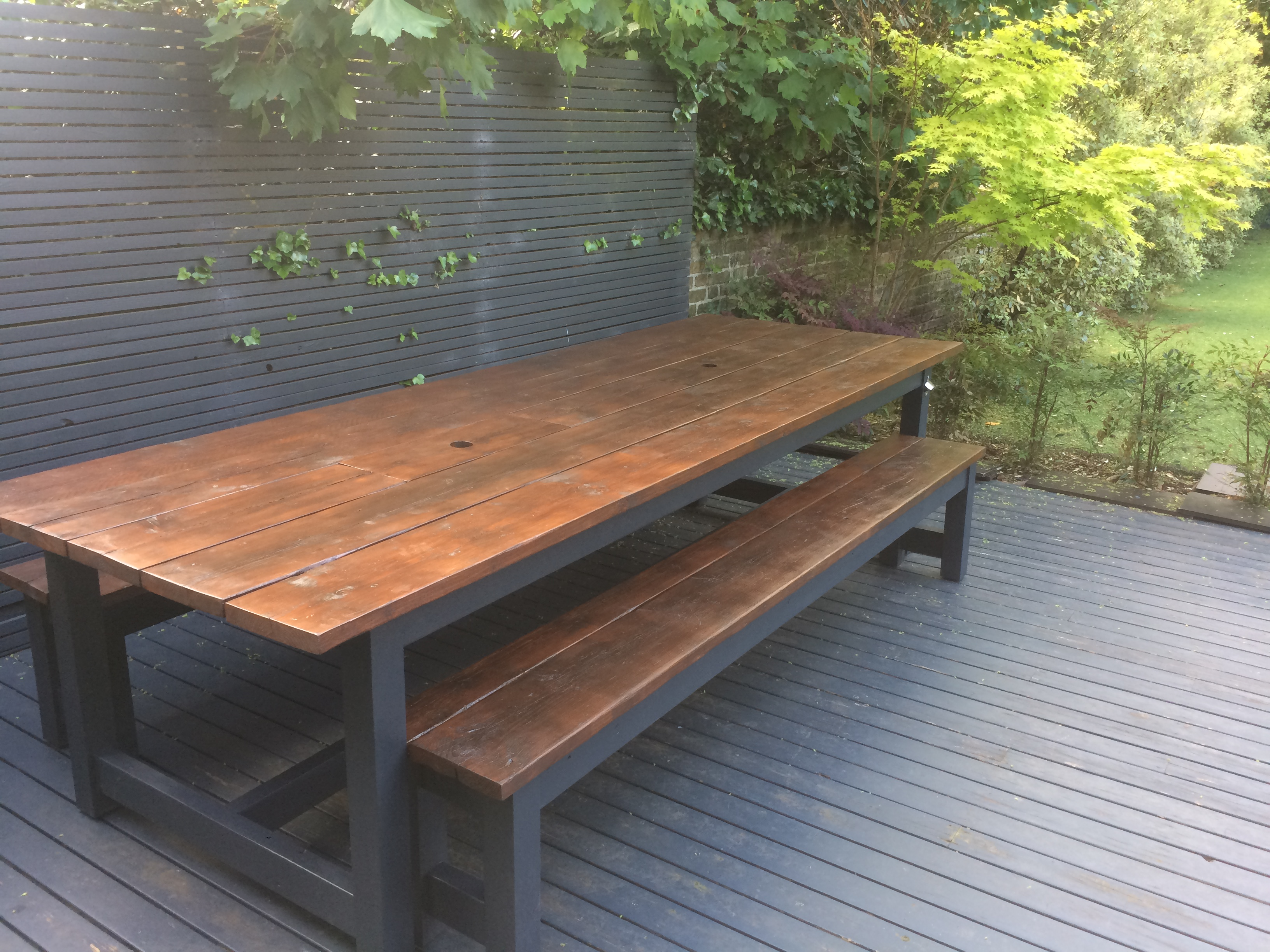 Sleek Rustic Patio Table & Reclaimed Wood Dining Patio Tables I Redhill I The Table Guy