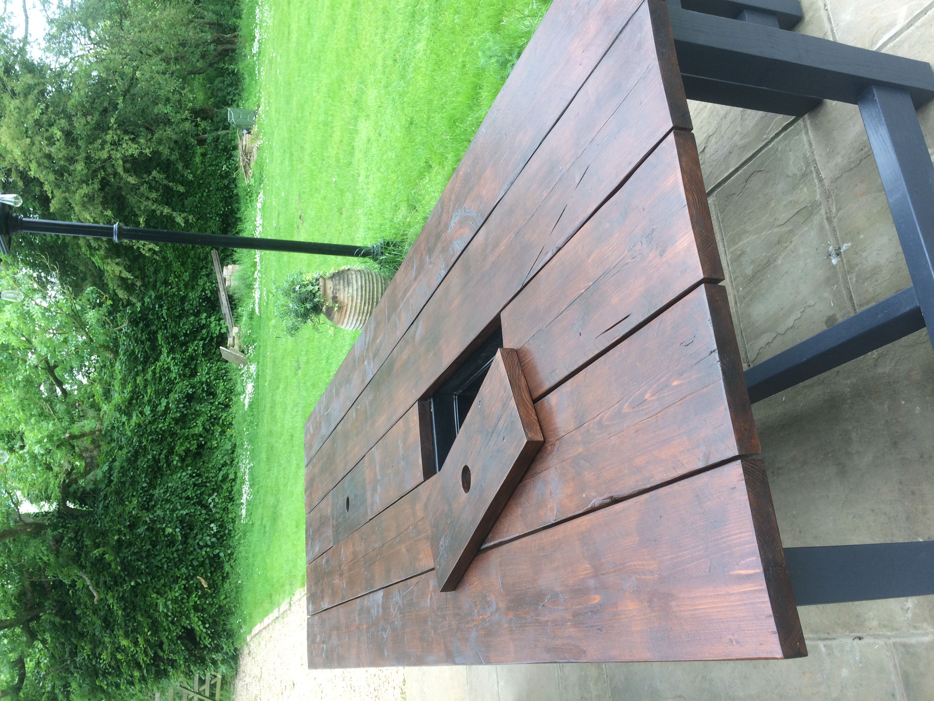 Dark Walnut Patio Table