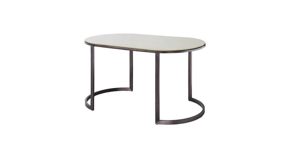 8519 - Oval Glass To Metal Frame Desk