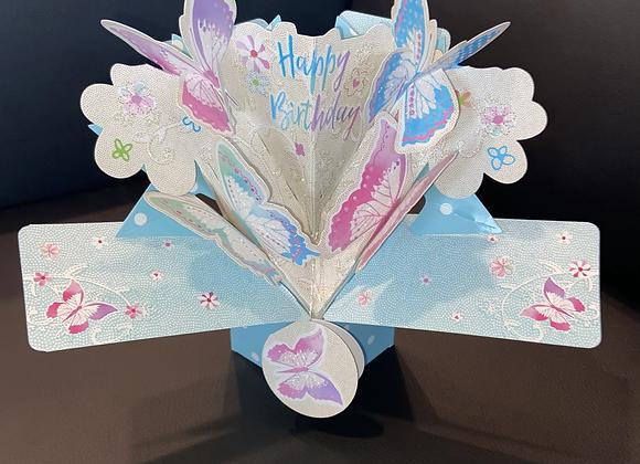 Happy Birthday Glitter Butterfly Pop-Up Card