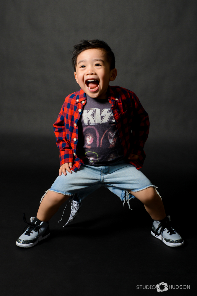 Jaxson Fun Portrait in Kiss T-Shirt