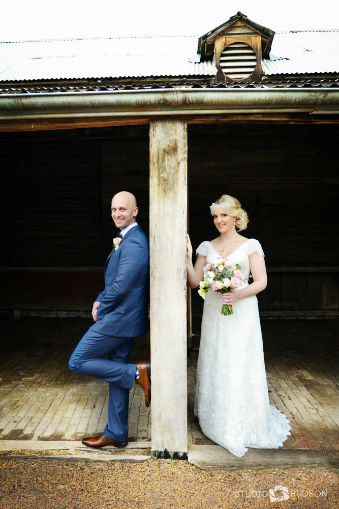 Bride and Groom Barn Portrait