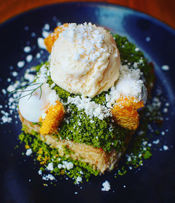 French Toast with Matcha Crumble